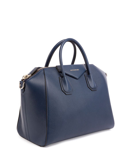 Antigona Medium Sugar Goatskin Satchel Bag, Night Blue