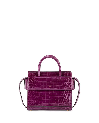 Horizon Mini Alligator Satchel Bag, Light Purple