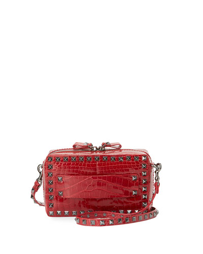 Rockstud Crocodile Crossbody Bag, Red