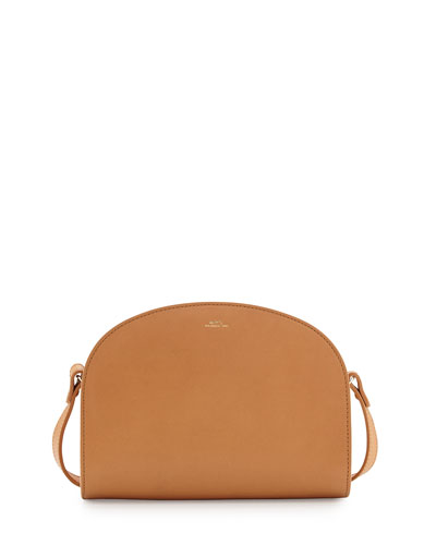 Half-Moon Leather Crossbody Bag, Beige/Natural
