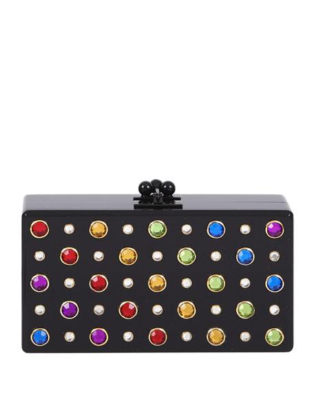 Jean Studded Acrylic Clutch Bag, Obsidian/Rainbow