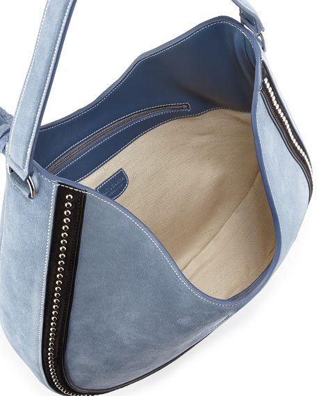 Ghianda Large Studded Suede Hobo Bag, Denim