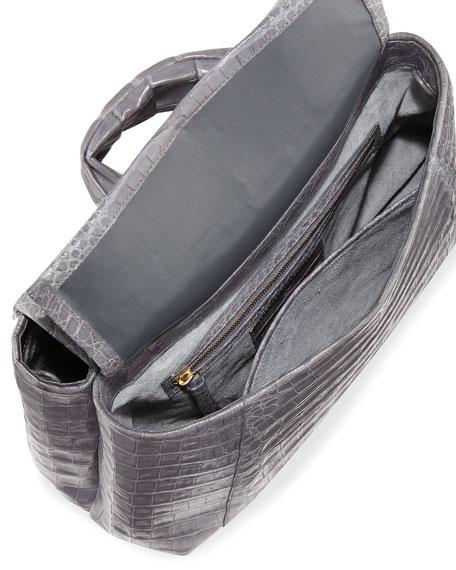 Tie New Flap Crocodile Top-Handle Bag