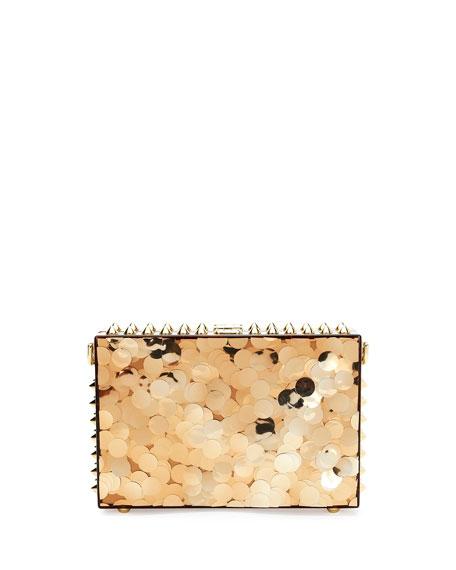 Metallic Paillette Box Clutch Bag, Gold