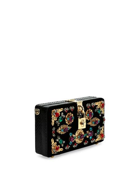 Jeweled Mini Satin Box Clutch Bag, Black