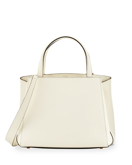 Triennale Small Leather Tote Bag, White