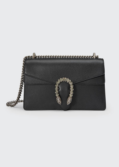 Dionysus Small Leather Shoulder Bag in Black