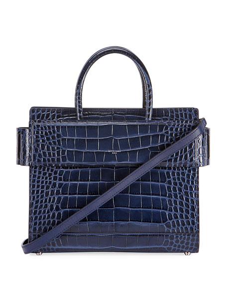 Horizon Mini Alligator Tote Bag, Dark Blue in Navy