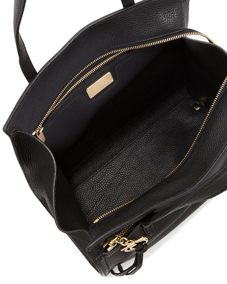 Medium Leather Tote Bag, Nero