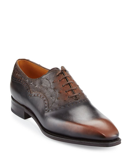 Wilfrid Ostrich & Leather Oxford Shoe, Brown