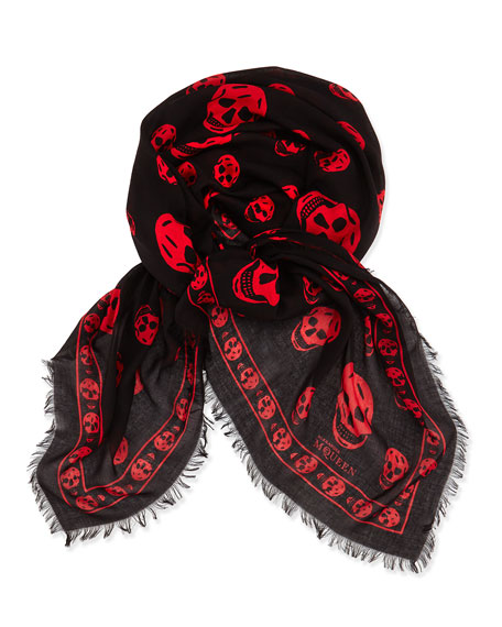 Skull-Print Pashmina Shawl, Black/Red