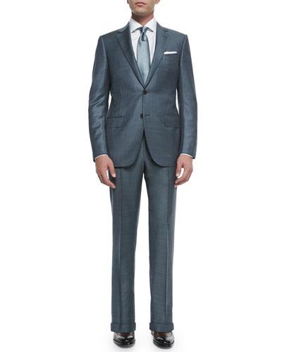 Trofeo Wool Sharkskin Suit Jacket, Slate Gray