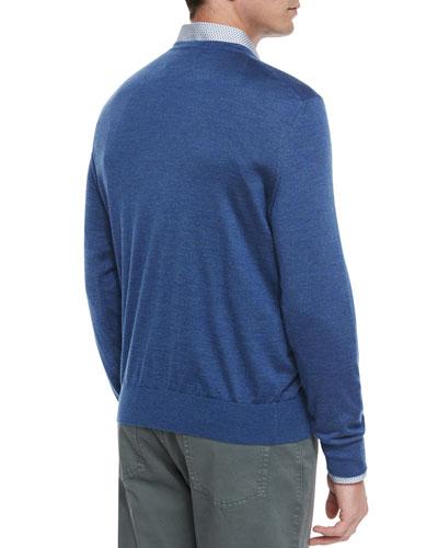 Cashmere-Blend V-Neck Sweater, Purple