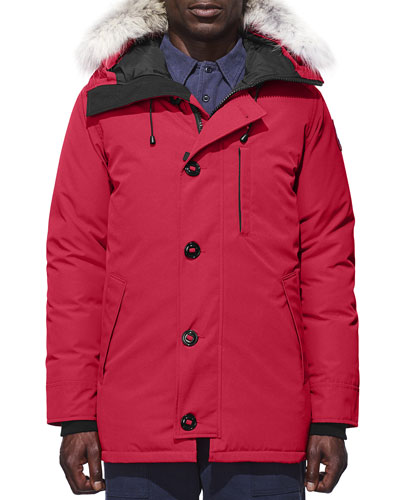 Chateau Fur-Trimmed Parka, Red