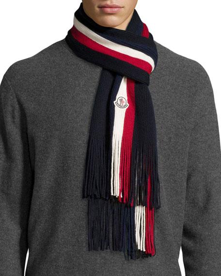 Wool Striped Fringe Scarf, Navy