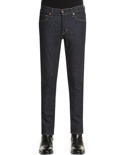 Slim-Fit Saturated Stretch Denim Jeans, Indigo