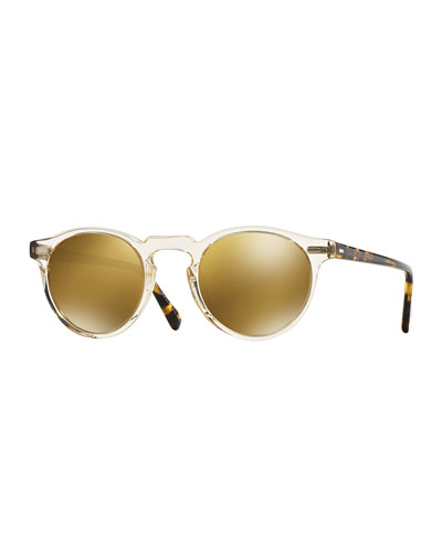 Gregory Peck 47 Round Sunglasses  Yellow