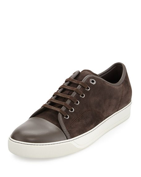 Lanvin Men's Suede Cap-Toe Low-Top Sneaker, Brown