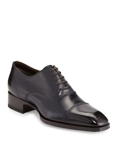 Gianni Cap-Toe Leather Shoe  Blue