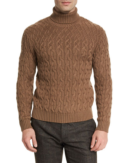 Cable-Knit Turtleneck Sweater, Camel