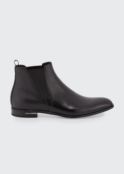 Saffiano Leather Chelsea Boots  Black