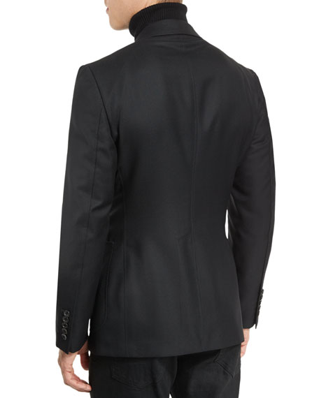 Hopsack Textured Cardigan Jacket, Black