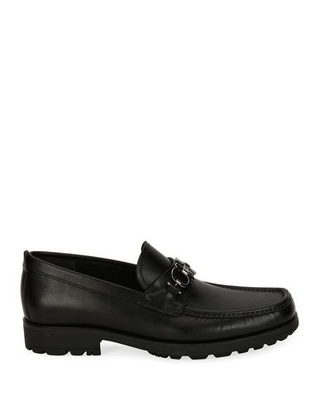 Men's Suede Lug-Sole Loafer, Black
