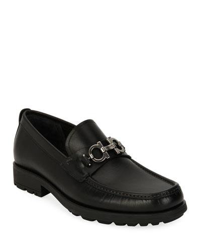 Men's Suede Lug-Sole Loafer  Black