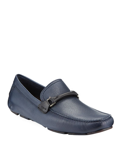 Men's Textured Calfskin Gancini Driver  Navy/Black