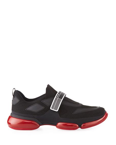 Men's Cloudbust Knit Sport Sneakers with Single Grip-Strap