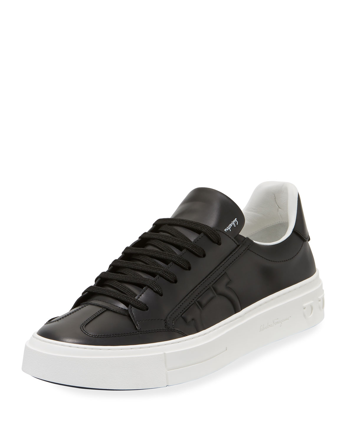Borg Leather Low-Top Sneakers, Black