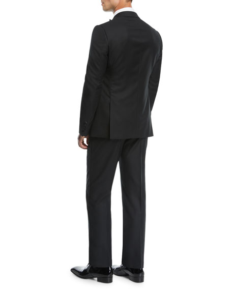 Men's Wool Tonal Chevron Two-Piece Tuxedo