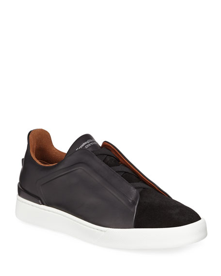 Image 1 of 1: Men's Triple-Stitch Leather/Suede Low-Top Sneakers