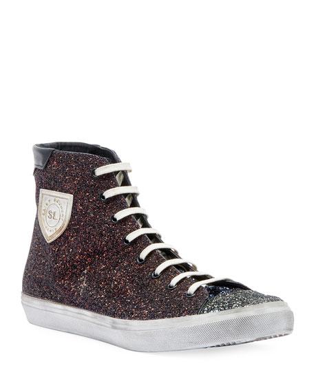 Men's Bedford Solid Glitter High Top Sneakers by Saint Laurent