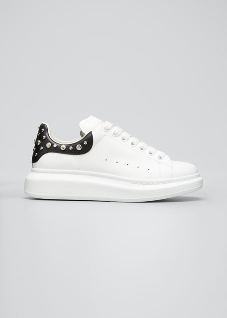Image 1 of 1: Men's Larry Leather Lace-Up Platform Sneakers with Spiked Trim