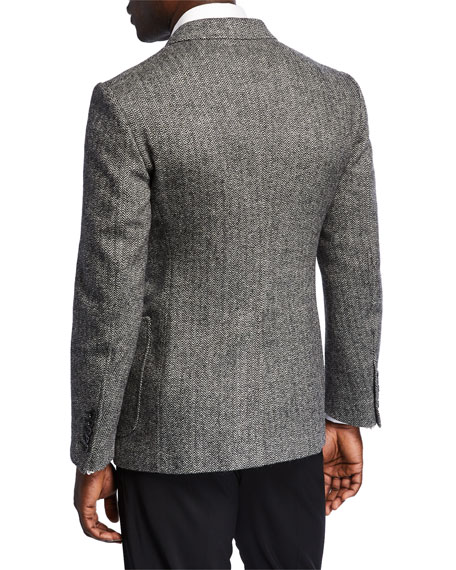 Men's Herringbone Cashmere-Blend Two-Button Jacket