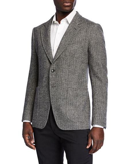 Image 1 of 1: Men's Herringbone Cashmere-Blend Two-Button Jacket