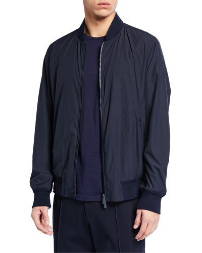 Men's Seersucker Bomber Jacket
