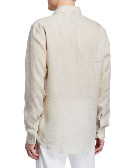 Men's Solid Linen Sport Shirt