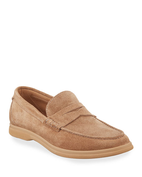 Image 1 of 1: Men's Suede Penny Loafers