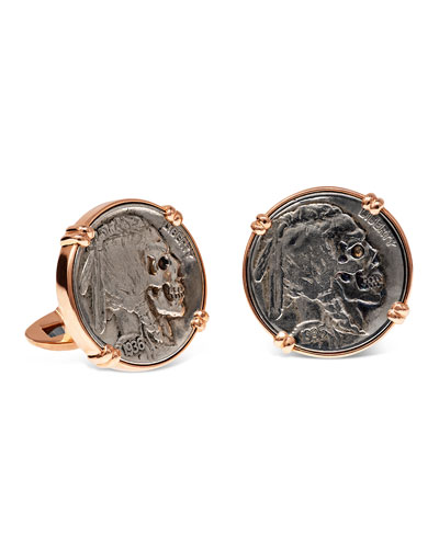 18K Rose Gold Cufflinks w/ Hobo Nickel Coins