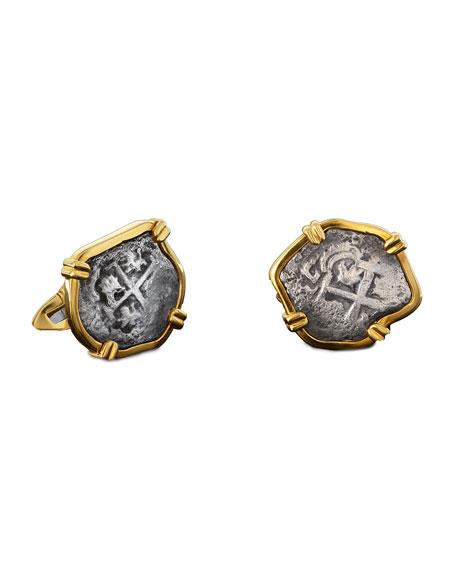 Men's Princess Louisa Ancient Coin 18K Gold Cufflinks