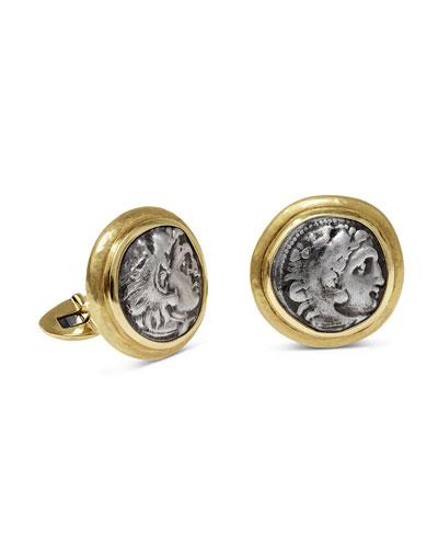 Men's Ancient Alexander The Great Coin 18K Gold Cufflinks