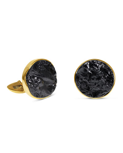 Black Tourmaline 18k Gold Cufflinks