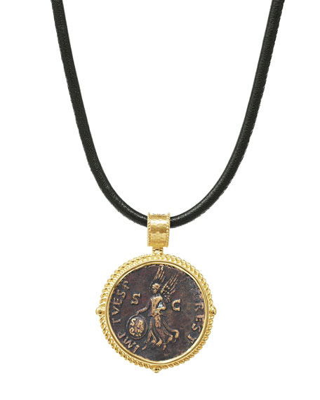 Authentic Victoria Coin Pendant in 18k Gold