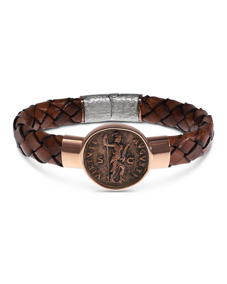 Men's Ancient Virtus Coin Braided Leather Bracelet