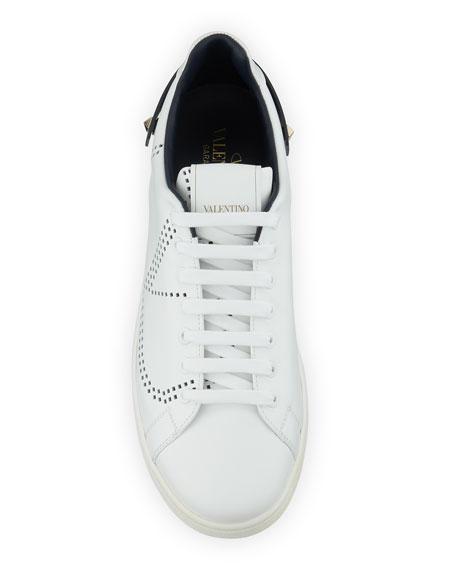 Men's Net Low-Top Leather Logo Sneakers