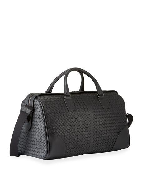 Men's Woven Leather Duffel Bag