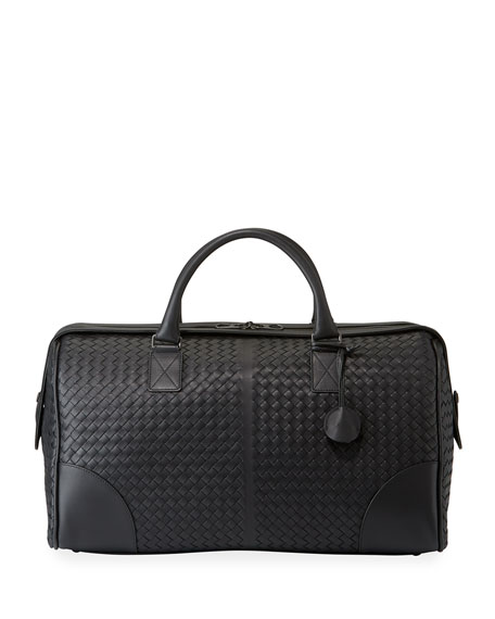 Image 1 of 1: Men's Woven Leather Duffel Bag