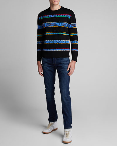 Men's Peruvian Striped Crewneck Sweater
